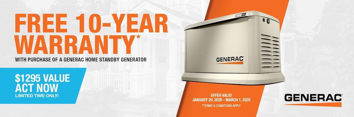 Generac  - Free 10YR Warranty Promo